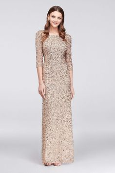 836f003fc47 Scoop-Back Champagne Silver Sequin Mother of the Bride Gown by Adrianna  Papell available at David s Bridal