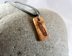Tiny Feather Necklace Wood Pendant Black Leather by SepiaTree, $22.00 #rectangle, #woodpendant, #feather #woodnecklace #necklace #pendant #wood #etsy #woodart