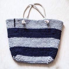 WEBSTA @ knitknotkiev - ☀️Summer is close! We do beach bags! ☀️Лето на носу, а мы вяжем пляжные сумки!#knitknotkiev #crochet #zpagetti #zpagettiyarn #tshirtyarn #handmade #beachbag #summer #madeinukraine
