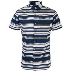 Navy and White Stripe Short Sleeve Shirt ($23) via Polyvore