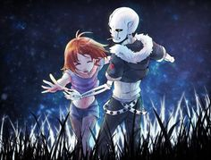 This is an awesome illistration of Sans and Frisk (Undertale)!