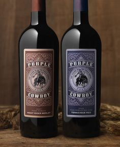 Wine label design for Purple Cowboy