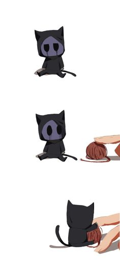 Eyeless Jack, cat, so cute, CreepyPasta Tv Anime, Anime Plus, Eyeless Jack, Laughing Jack, Jeff The Killer, Cute Comics, Funny Comics, Jack Creepypasta, Chibi Cat