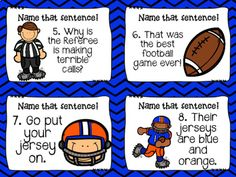 4 TYPES OF SENTENCES SCOOT-football themed! Here is a fun way to review the four types of sentences using a football theme. There are 24 task cards that review Interrogative, declarative, imperative and exclamatory sentences. Use it as a scoot game, task cards or a station. 4 Types Of Sentences, Football Themes, Grade 2, Task Cards, Teaching Resources, Literacy, Classroom, Education, Game