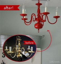 I am going to do this to my Ugly dining Room light that looks exactly like this! Cool way to add color to transform tacky old light fixtures! How To: Transform an Old Chandelier #diy #decor - diyenergy.co