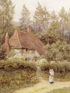 A Cottage near Haslemere (w/c on paper) by Allingham, Helen (1848-1926)