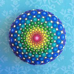 Jewel Drop Mandala Painted Stone massive rainbow by ElspethMcLean