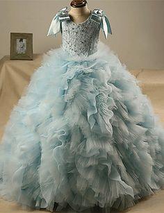 Salón Larga Vestido de Niña Florista - Encaje / Tul Sin Mangas Joya con 4890072 2016 – $99.99
