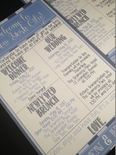 Wedding Welcome Letters / Itineraries by modernsoiree on Etsy, $2.75