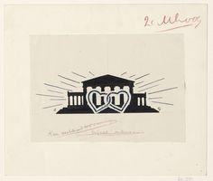 Leo Gestel   Ontwerp voor een vignet: tempel met twee ineengeklonken harten, Leo Gestel, 1891 - 1941  