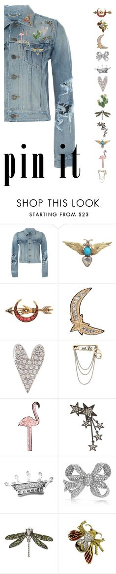 """""""Pins With Personality"""" by sharmarie ❤ liked on Polyvore featuring Yves Saint Laurent, Alexander McQueen, Happy Embellishments, Sonia Rykiel, Marc Jacobs, INC International Concepts, Tiffany & Co., Bling Jewelry, Kenneth Jay Lane and denim"""