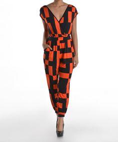 Love this Orange & Black Geometric Surplice Jumpsuit by Adrienne on #zulily! #zulilyfinds