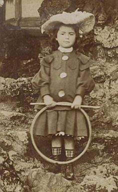 Young Girl Hoop Toys Fashion France OLD Photo 1900