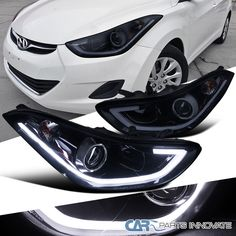 Glossy Black For Elantra Sedan Smoke LED Projector Headlights Lamps Projector Headlights, Led Projector, Elantra Car, Black Betty, Car Mods, Black Smoke, Truck Parts, Car Pictures, Lamps