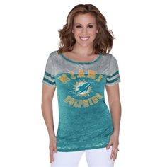 Women's Miami Dolphins Nike Aqua Crested Scoopneck Tri-Blend T-Shirt