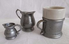 Vintage Wilton Armetale Pewter Mini Pitcher/Creamers/ Tavern Mug w. Insert /Lot
