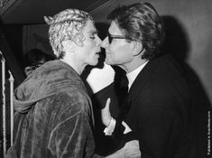 Rudolf Nureyev & Yves Saint Laurent after the launch of a new YSL aftershave in Paris, 23rd Feb. 1981.