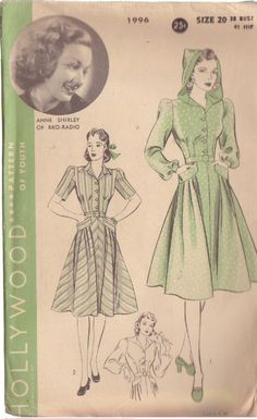 Hollywood vintage sewing pattern - 1996 (1940). Love the hooded dress/coat so very much!