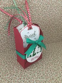 Stampin Up Cookie cutter Christmas box of tags. Box made with envelope punch board
