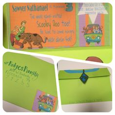 Scooby Doo Birthday Party Invitations!  Easy and cheap DIY.  Used free printables and cardstock!  Found interesting ways to address envelopes.  Super cute poem invitation !  3 yr old boy
