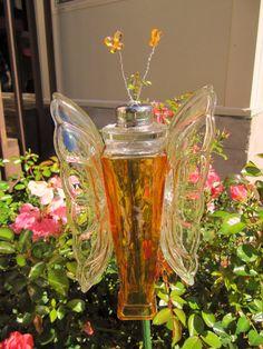 Butterfly Garden Art Glass Garden Art By Adelicatetouch1 On Etsy, $22.00