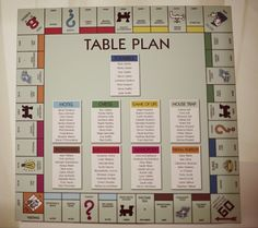 Quirky wedding table plan idea with a Monopoly board! Board Game Wedding, Wedding Games, Wedding Planning, Wedding Table Names, Seating Plan Wedding, Seating Plans, Wedding Reception, Reception Seating, Reception Ideas