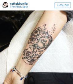 World Globe Tattoo with Flowers // Arm