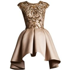 Krikor Jabotian S/S Couture 2014 Edited by SakuraGirl ❤ liked on Polyvore featuring dresses, vestidos, gowns, short dresses, couture dresses, brown dress, short couture dresses and short brown dress