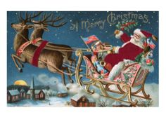 A Merry Christmas with Santa in His Sleigh Giclee Print at Art.com
