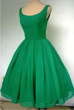 Boatneck- emerald chiffon dress, 50s inspired with pleated skirt!
