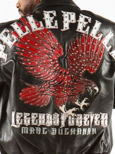 6d55f355ab6 Pelle Pelle - LEGENDS FOREVER Leather applique eagle on back with  rhinestone accented wings. Pelle