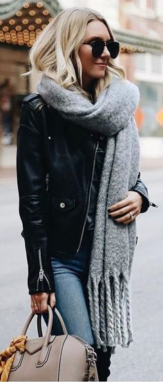 #winter #outfits gray fringe scarf and black leather zip-up jacket outfit