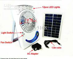 Wholesale Solar Light - Buy Portable Solar Powered Rechargeable Fan with 12 LEDS Beads LED Lighting ,$58.29 | DHgate