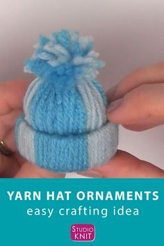 Yarn Hat Ornaments Christmas CraftLove this adorable craft! Winter Yarn Hat Christmas Ornaments are an easy project to make with your friends and family because there are NO knitting skills required. Get full written instructions Christmas Ornament Crafts, Christmas Crafts For Kids, Diy Christmas Gifts, Christmas Projects, Simple Christmas, Holiday Crafts, Holiday Ornaments, Snowman Crafts, Easy To Make Christmas Ornaments