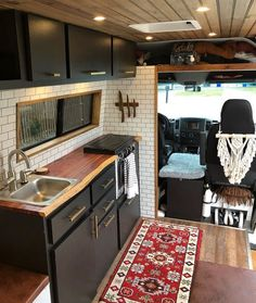 This Converted Sprinter Van is a Surprisingly Livable Tiny House on Wheels - Van Life Interior Trailer, Camper Interior, Interior Walls, Interior Ideas, Bus Living, Tiny House Living, Living In Van, Small Living, Converted Vans
