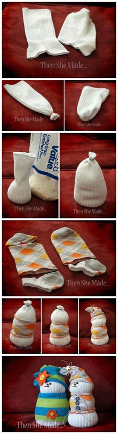 Sock snow men-so doing this with the ridiculous amount of mismatched socks we have! ;) They just keep showing up here.