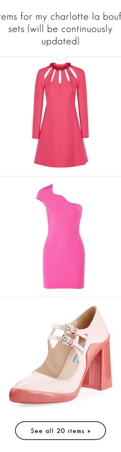 """""""items for my charlotte la bouff sets (will be continuously updated)"""" by hiimmichelle on Polyvore featuring dresses, pink, short pink dress, valentino dress, crepe dress, red mini dress, cut out dresses, cocktail dresses, short dresses and holiday party dresses"""