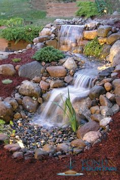 It's not difficult to create a waterfall pond feature rather than the conventional pond. With this small waterfall pond landscaping ideas you will inspired to make your own small waterfall on your home backyard. Diy Water Feature, Backyard Water Feature, Ponds Backyard, Backyard Waterfalls, Garden Ponds, Koi Ponds, Outdoor Ponds, Outdoor Fountains, Outdoor Gardens