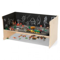 chalkboard car track. I like that you can make your own background.