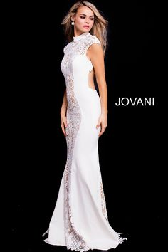 c4b41ff91db Ivory and nude high neck lace prom dress  Jovani  Promdresses Fitted Prom  Dresses
