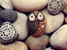 Hand Painted Rock Owl <3