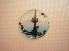 Cabochon rond chat au claire de lune 20 mm. : Autres accessoires bijoux par laboiteabijouxnanny