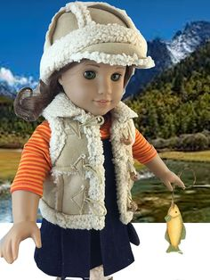 Sherpa Vest and Hat to fit American Girl by CrabapplesBoutique