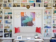 Multicolored Transitional Library With Settee