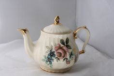 Vintage bone china teapot with gold gilt by BootiesBowsandBling, $35.00