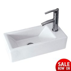 Nexo 450 Rectangular Wall Hung Right Basin - The Nexo basin is compact, sharp and swish. Ideal for the modern trendy cloakroom or en suite, this basin has the style of a New York penthouse at an affordable price. Corner Basin, New York Penthouse, Compact, Naked, Sink, New Homes, Wall, Modern, Home Decor