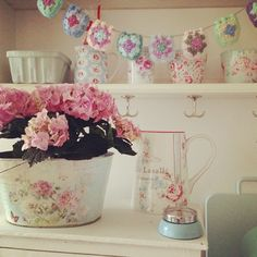 Surround yourself with things that make you happy. Shabby Chic Boutique, Pastel Kitchen, Pastel House, Cozy Cottage, Vintage Shabby Chic, Shabby Chic Furniture, Warm And Cozy, Are You Happy, Kitchen Decor
