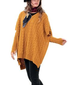 This Mustard Cable-Knit Poncho & Arm Warmers - Plus by Zaira is perfect! #zulilyfinds