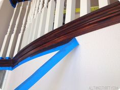 How to Stain an {UGLY} Oak Banister Dark