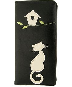 Cat under the bird house. What is it up to? Vegan leather wallet. $27.99 cool gift for cat lovers.